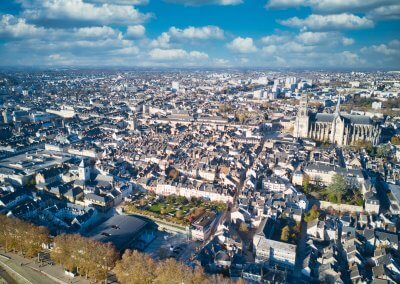 Centre ville d'Orléans vu de drone