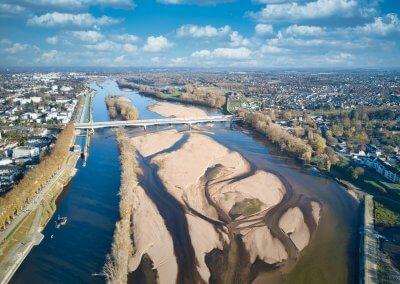 Pont Thinat et Loire vus de drone